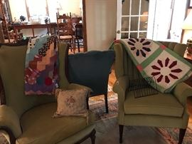 chairs with quilt and quilt top