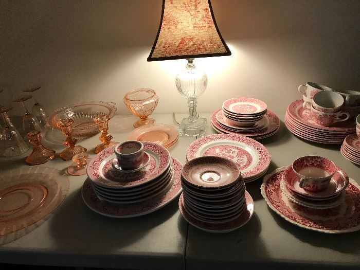 pink willow with pink depression glass