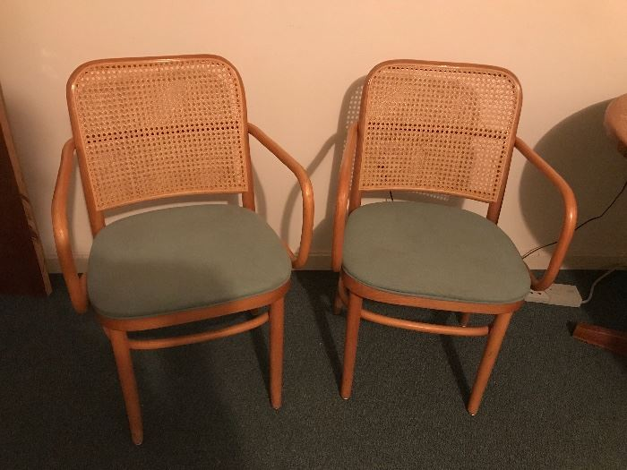 2 Cane Armed Chairs