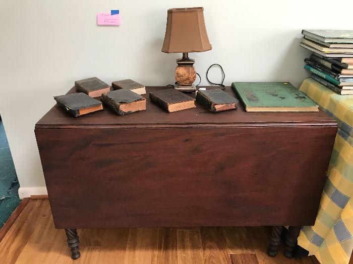 Drop Leaf Table, Bibles, Lamp