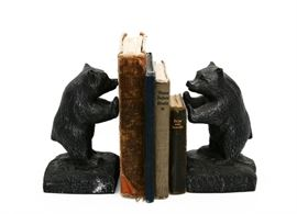 VINTAGE STANDING BLACK BEAR BOOKENDS