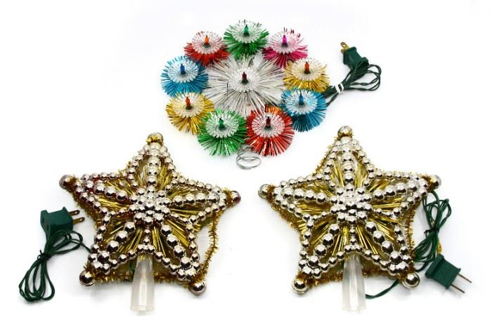 MID-CENTURY TINSEL & STAR TREE TOPPERS