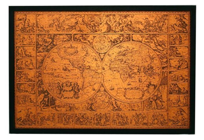 """COPPER WORLD MAP ACCORDING TO HENDRIK HONDIUS 34"""""""