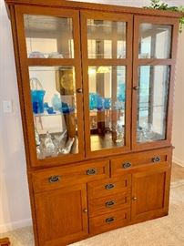 Gorgeous Mission Style China Cabinet and Matching Table with Six Chairs.  Pristine Condition!