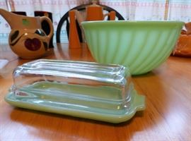 Vintage RARE Jadeite Covered Butter Dish, Fire King Jadeite Swirl Mixing Bowl