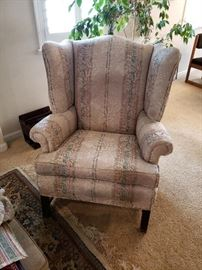 Neutral Tone Wingback Chair
