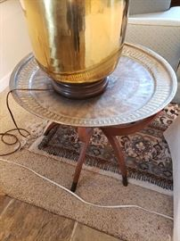 Wonderful Brass Tray with Danish Modern Leg Stand