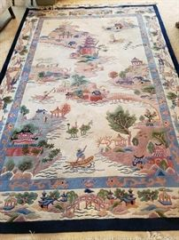 Chinese Handwoven Wool Carpet 6 ft x 9 ft 2 inches.