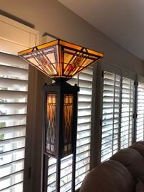 Mission style stained glass standing lamp