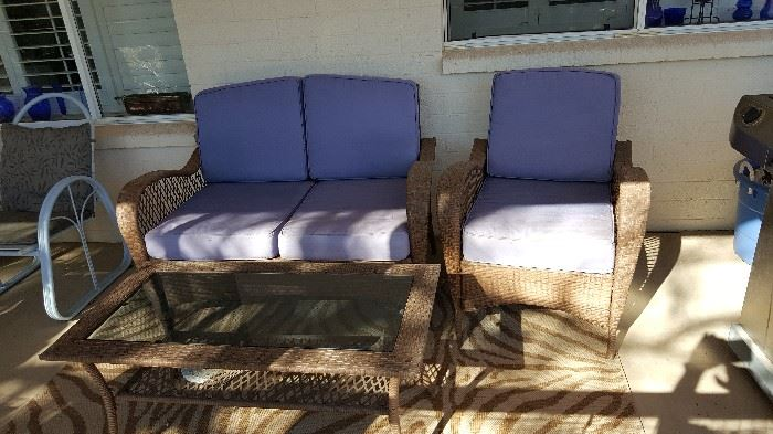 wicker patio set with beveled glass coffee table
