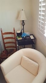 the white chair includes a blue slipcover    (the lamp in back is not for sale)