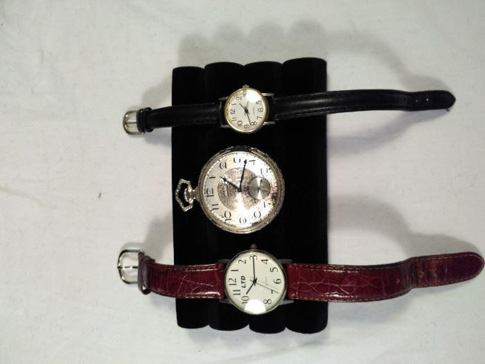 three watches, antique Elgin pocket watch, two wrist watches https://ctbids.com/#!/description/share/125115