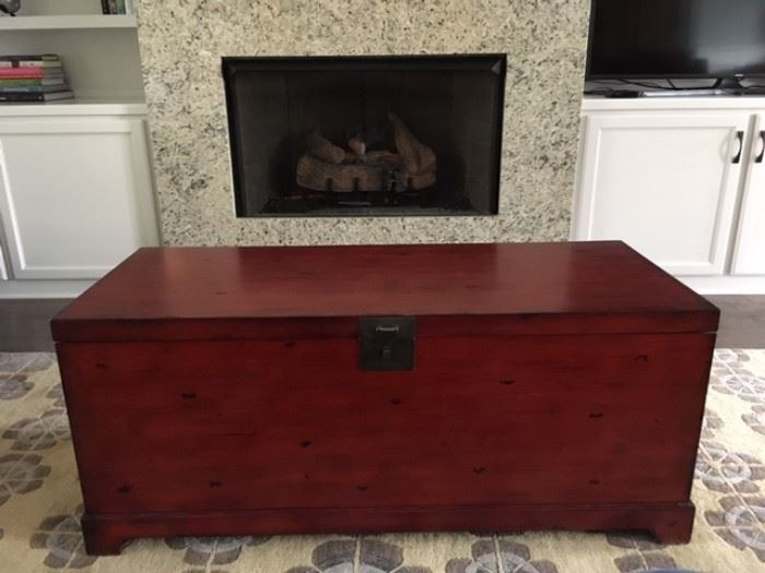 Red Storage Trunk and Coffee Table