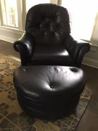 Navy Leather Chair Ottoman