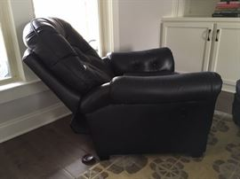 Navy Leather Chair with Reclining Back