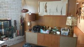 wall hanging made by owner, stereo cabinet (shell), lamps, collectables, vintage items