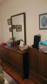 six drawer dresser with mirror, etc.
