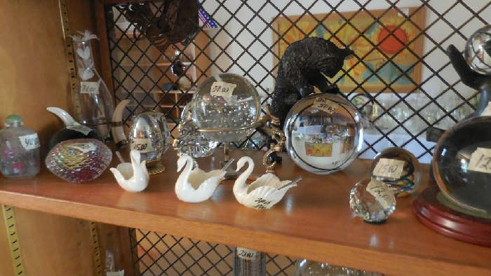 Lenox, collectables, Bronze statues with crystal ball, paper weights, etc.