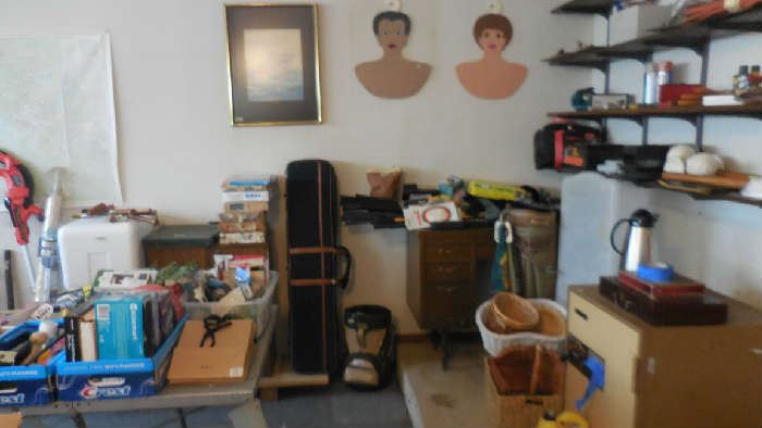 garage items, hanging faces are sold already