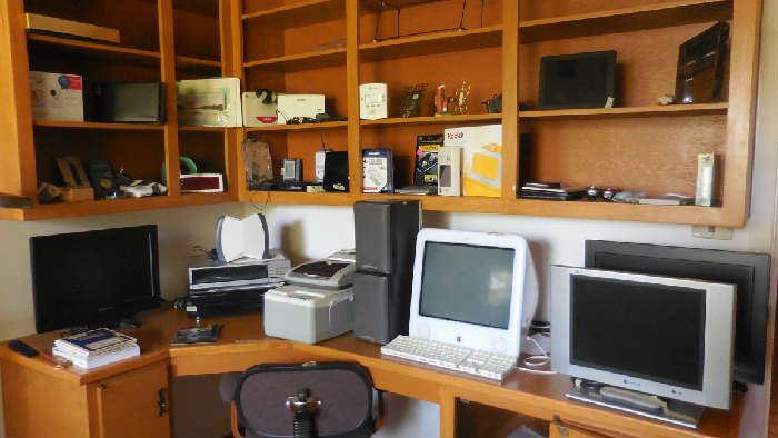 Apple PC, several HD TV screens, Monitors, speakers, Office printer, Photo printer, etc.