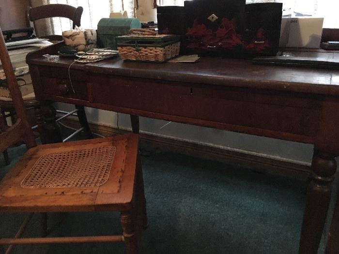 Old desk.  Top lifts. Oriental jewelry box and other miscellaneous items