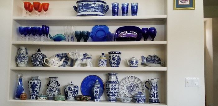 Assorted blue and white asian motif porcelain and cobalt blue glass