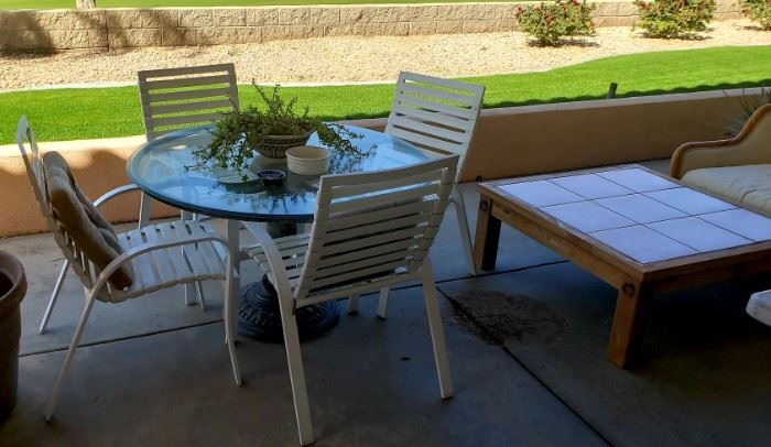 Patio furniture pots and plants