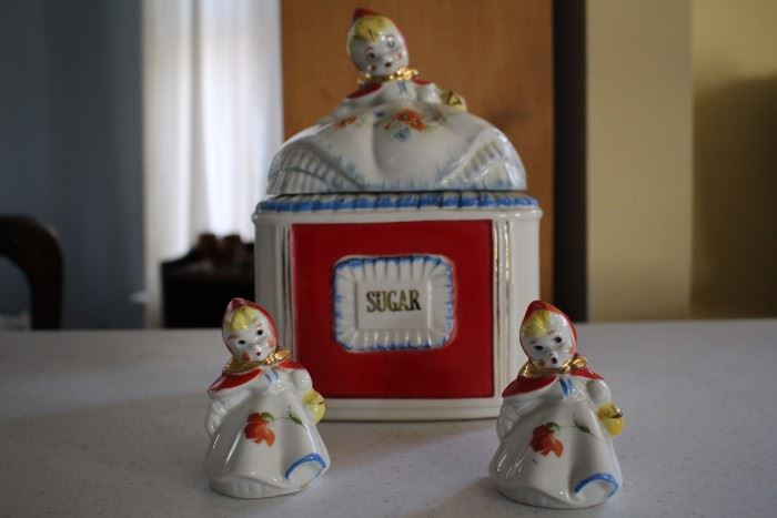 Red Riding Hood sugar jar and salt and pepper shakers