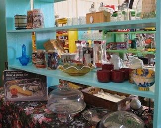 cake dome, steins, kitchen items