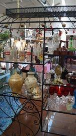 coke bottles, stemware, decor