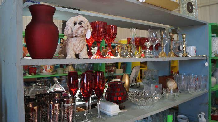 stemware, dog figurine, brass, collectibles