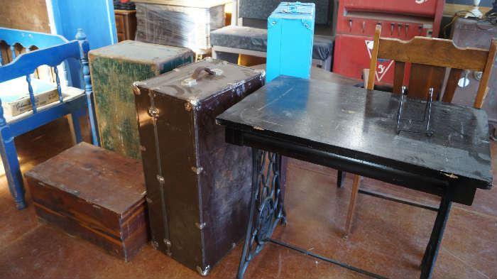 table, trunks, wood  box