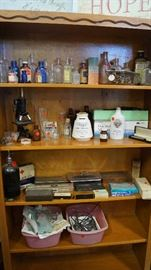 old medicine bottles, medical items