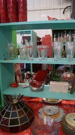 stain glass lamp shade, coke glasses