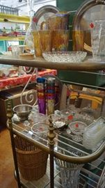 glass items, Carnival pitcher and glasses