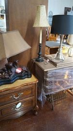 night stands, lamps, treadle machine cabinet