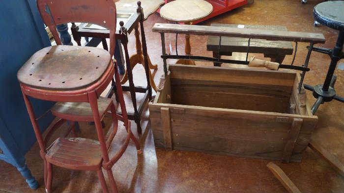 step stool, wood box