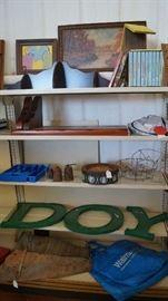 letters, décor, wind mill pieces, books