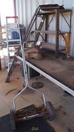 reel mower, ladder
