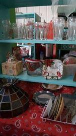 Stain glass lamp shade, Coke glasses, plates