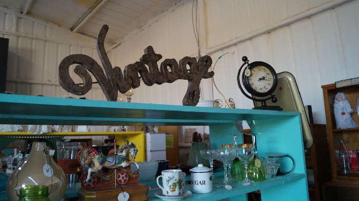 Vintage sign, clock