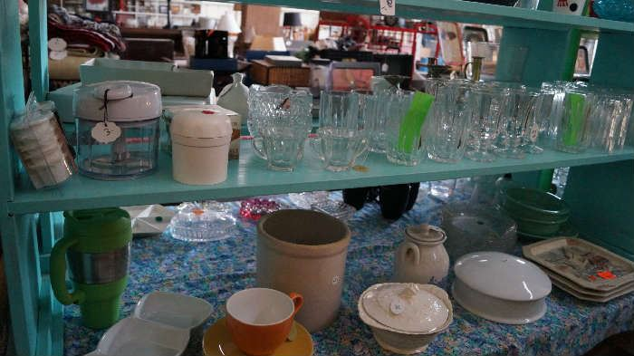 glasses, crock, Pampered Chef, kitchen decor