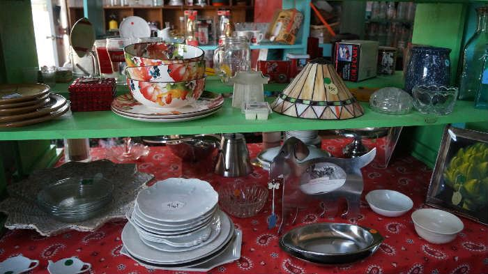 dishes, stain glass lamp shade,