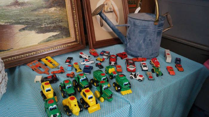 John Deere baby tractors, hot wheels, match box and other miniature cars