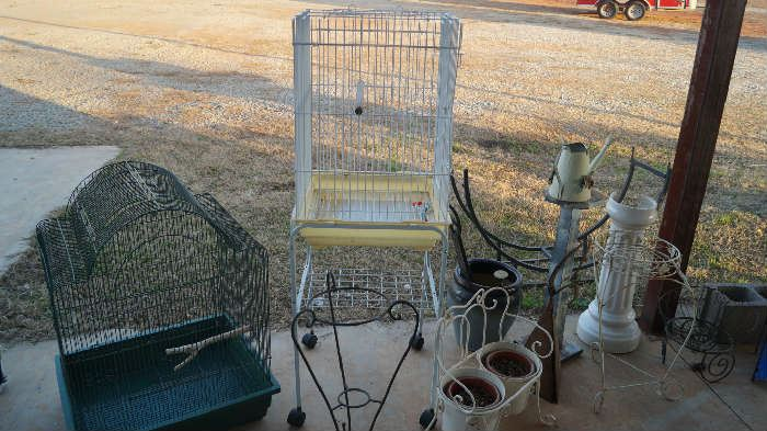 bird cages, plant stands, wood rack