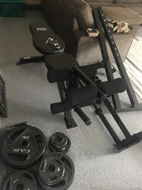Weight Bench with weights and weight bar holder. Like new!