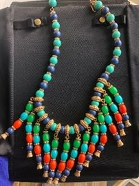 Another unsigned beauty, Hattie Carnegie perhaps?  Heavy glass bead necklace, the colors are so beautiful together!