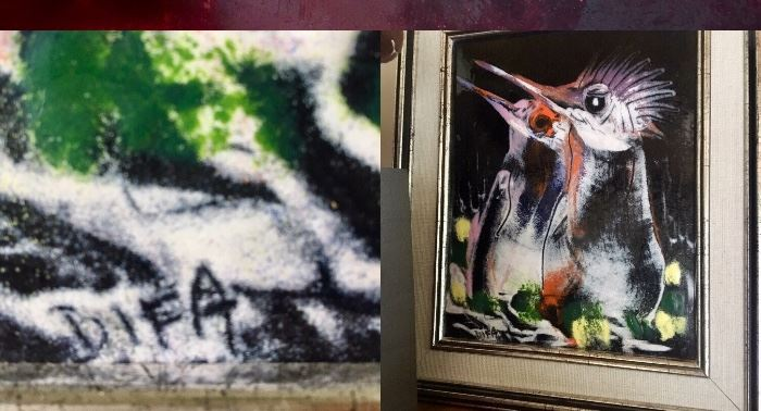 """Look,"" Say the EOC Birds.  Enamel On Copper.  (13""l x 11""w)  Artist:  Difa.  $380.00"