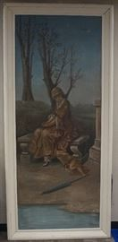 "Very large oil painting on canvas Repainted 1942 - McNamee and Jacobsen (90"" x 40"")."