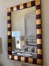 "73. Contemporary Wood & Gilt Framed Beveled Mirror (58"" x 83"")"